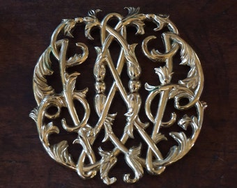 Vintage Colonial Williamsburg Cypher/ VA Metalcrafters/ Solid Brass Trivet/ Preppy Decor/ Traditional Home