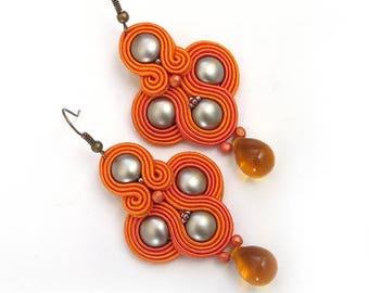 Orange earrings Ethnic earrings for women Beaded dangle earrings Seed Bead Earrings soutache Jewelry Boho Jewelry birthday gift for sister