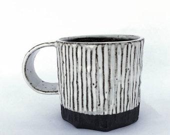 B&W mug // handmade // ceramic // handcarved