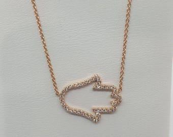 "0.20ct 14k rose gold diamond khamsa charm pendant hamsa necklace +16"" chain"