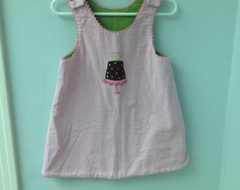 18 Month? Reversible Dress--Pink and White Checked with Birthday Cake & Lime Green Corduroy with Gingham Bow