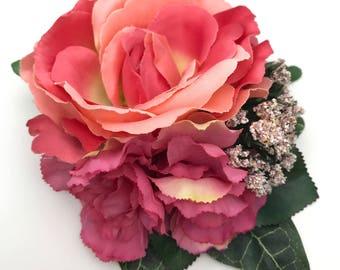 Handmade Peachy Pink Rose & Carnation Flower Clip