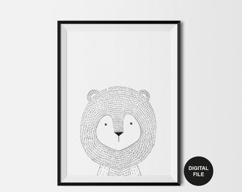 Lion Illustration, Children's Art Print, Digital Download, Printable Poster, Black & White Nursery, Scandinavian Kids, Modern Animal Print
