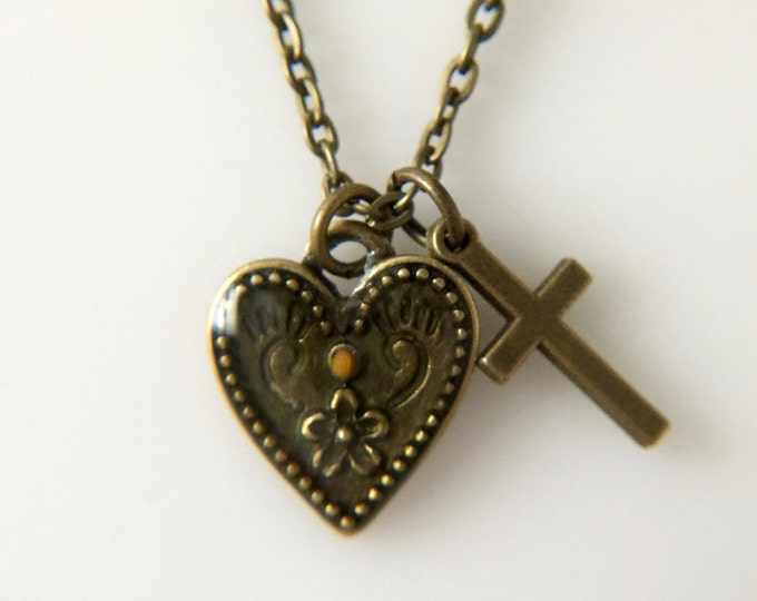 Mustard Seed Jewelry, Faith Jewelry, Mustard Seed Necklace, Christian Gifts, Cross necklace, heart necklace, antique bronze necklace