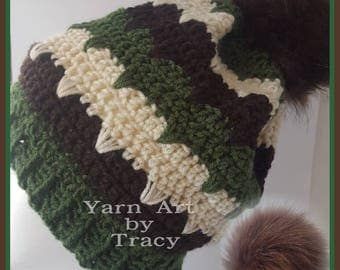 Woman's handmade crochet winter hat w/pom pom