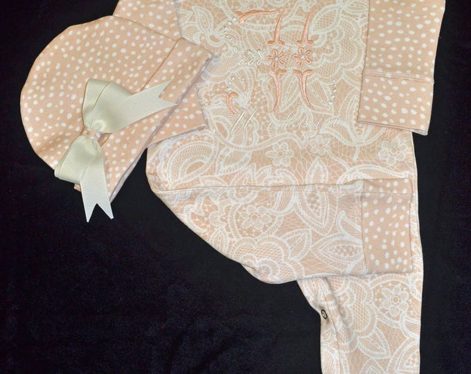 Featured listing image: Personalized, Custom Made Baby Outfit, Upscale Baby Outfit, Designer Baby Clothes, Boutique Baby Outfit, Going Home Outfit Girl