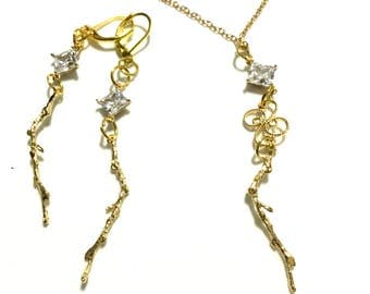 Cubic Zirconia Pendant Set, Dazzling Gold Branchesl Pendant and Earrings, Gift for Her, Unique Earring and  Pendant Set, Boxed Jewellery Set