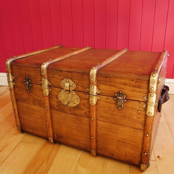Antique French Banded Steamer Trunk Coffee Table Campaign Style