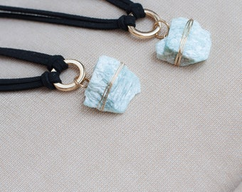 Raw Amazonite Crystal Choker Necklace Amazonite Necklace, Healing Crystal Necklace Gemtone Pendant, Bohemian Necklace Crystal Pendant