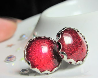 Ruby Slippers Red Glitter Round Nail Polish Stud Earrings with Scallop Edge and Stopper, Ladies Gift, Red Sparkle, Blood, Pillarbox Studs