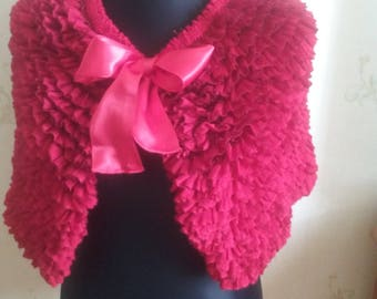 Red knit capelet with a flower or a ribbon / knit wrap / bridal shawl / bolero