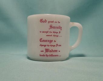 MUG COFFEE CUP Federal Serenity Prayer Oven Proof Milk Glass Collectible Vintage Retro