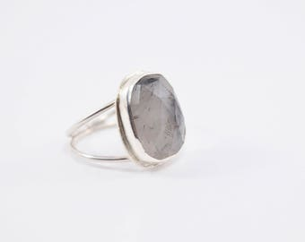 Tourmalated Quartz Ring - Black Rutilated Quartz  Sterling Silver Ring - Natural Stone Ring - Black and White Ring - 925 Sterling Silver