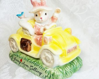 Vintage Going Avon Calling Avon Bunny Figurine, Rabbit Car Figurine, Precious Moments Figurine, AVon Consultant Gift, Vintage Avon in Box