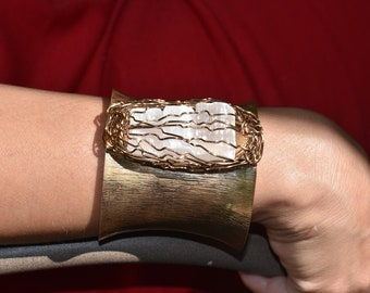 Gold Cuff With Wire-Wrapped Selenite Crystals