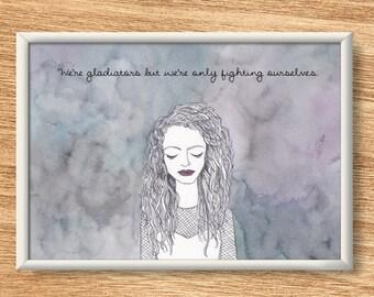 Lorde - Illustrated Watercolor Print - Custom Lyrics