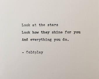 Coldplay love quote hand typed on antique typewriter gift girlfriend boyfriend husband wife wedding present birthday valentines scrapbooking