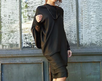 Maternity Dress, Plus Size Dress, Black Tunic Dress, Oversize Dress, Midi Dress, Loose Dress, Plus Size Dress, Knee Length Dress, Club Dress