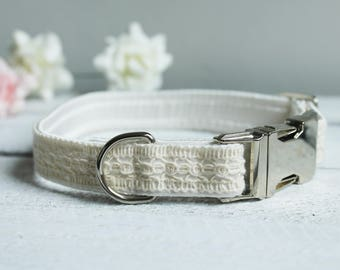 Dog Collar Wedding - rustic cotton lace ribbon over ivory satin - with silver metal fittings.