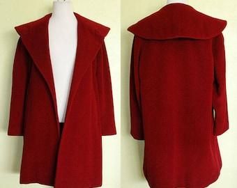 1950s Coat- Wool Swing- Red Wine- Burgundy