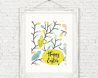 Whimsical Easter Poster // 8x10 // Bird Print // Pastel Print // Happy Easter Printable // Spring Printable // Piper and Lily Prints