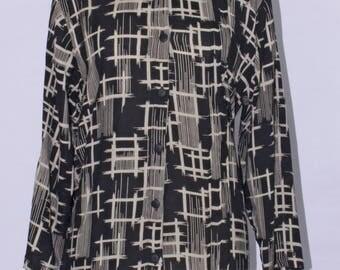 Black Print Button-Down Rayon Top - SP17-7002-B