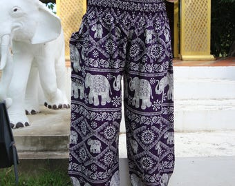 Plus Size Pants Hippie Bohemian Boho Clothing  Elephant Design Dark Purple
