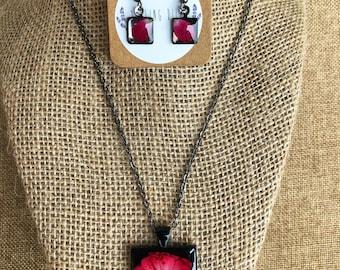 Rose Bud pendant and earring set