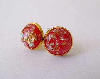 Gold Leaf Earrings - Red Series
