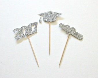 12 Silver Glitter Graduation Cupcake Toppers Graduation Cake Topper Graduation Toppers Graduation Gift For Him Graduation Gift For Her Gold