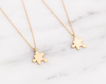 Gold Puzzle Necklace / Best Friend Necklace Set / Gold Puzzle Piece Necklace / Custom Autism Necklace / BFF Necklace for 2 3 4 / Bridesmaid