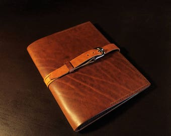Leather Notepad Cover Brandy DIN A5