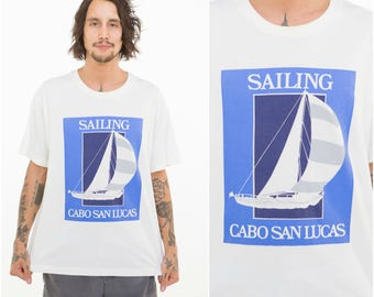 Sail Away / Mexican Nautical Boat Tee / Cabo San Lucas / Size M-L