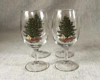 Vintage Cuthbertson Christmas Tree Wine Glasses, Set of 4