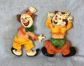Vintage Homco Clown Wall Plaques, Set of 2, Childs Nursery Decor, Kitsch Clowns