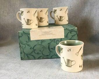 Vintage Pfaltzgraff Naturewood Mugs, Set of 4, Gardening Mugs