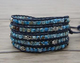 Blue fire agate bracelet Skull beads bracelet Boho wrap bracelet leather wrap bracelet Blue beads bracelet Jewelry SL-0608