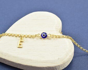 Tiny Evil Eye Bracelet, Greek Evil Eye Bracelet, Evil Eye Bracelet, Greek Letter Bracelet, Evil Eye Jewelry, Gold Evil Eye Bracelet