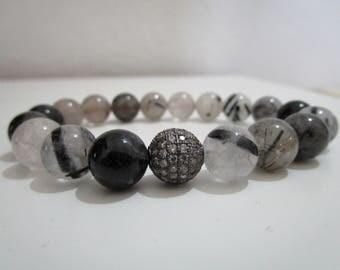 Rutilated quartz, bracelet of rutilated quartz, bracelet of natural stones, for women, gift for woman, beaded bracelet, bracelet gift