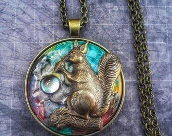 Squirrel Jewelry, Fall Necklace, Fall Jewelry,, Acorn Necklace, Acorn Jewelry,  Squirrel Necklace, Steampunk Jewelry