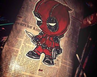 Deadpool chibis painted skateboard