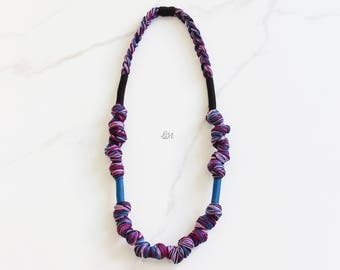 Purple Blue Rope Necklace, Braided Long Necklace, Statement Necklace, Thread Necklace, Boho Necklace, Handmade