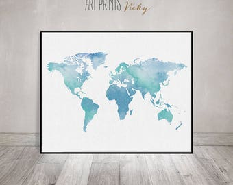 Large World Map Poster Bluish World Map Print World Map - Large map of earth