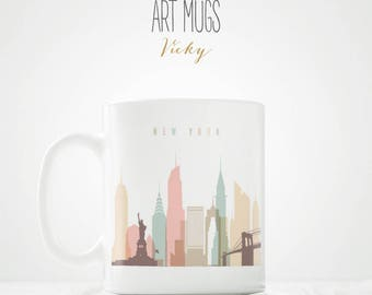 New York City Skyline Coffee Mug - ArtPrintsVicky.com