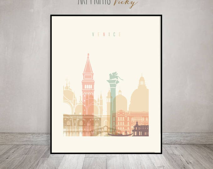 Venice art print, Poster, Venice skyline, Travel wall art, Italy art, City poster, Wall decor,  Gift, Home Decor, ArtPrintsVicky