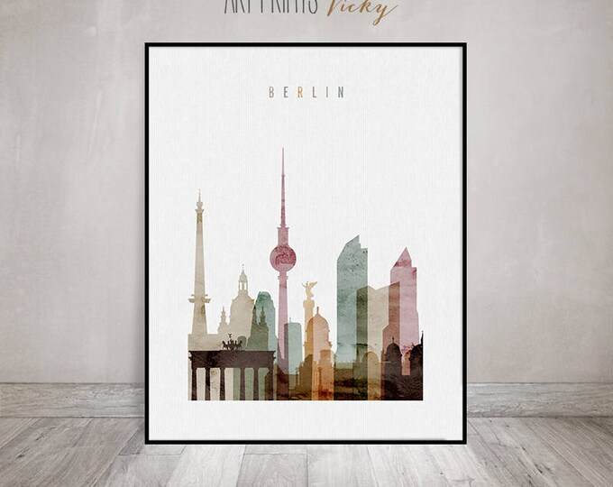 Berlin print, Berlin poster, Berlin skyline, Wall Art, Watercolor. Travel, City prints, Typography art, Gift, Home Decor, ArtPrintsVicky