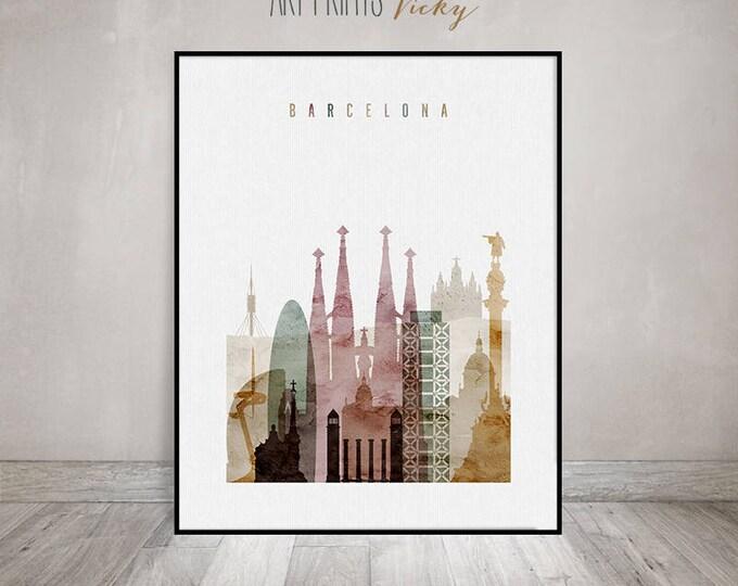 Barcelona art, Barcelona Print, Barcelona Poster, watercolour wall art, Barcelona Skyline, Cities poster, Travel, Home Decor, ArtPrintsVicky