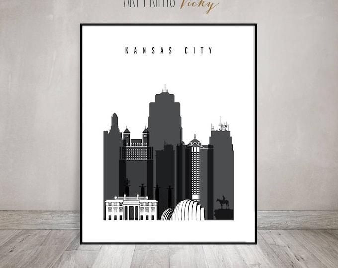 Kansas City black and white print, Poster, Wall art, travel, cityscape, Kansas City skyline, City print, Home Decor, ArtPrintsVicky