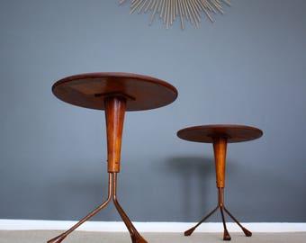 SOLD: Rare Swedish Albert Larsson Teak Side Tables Retro Vintage Mid Century 50s 60s 70s