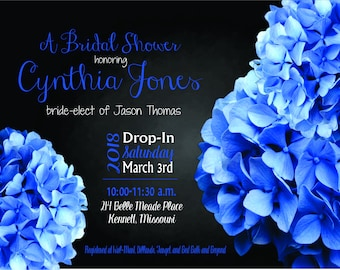 Custom Bridal Shower Invitation - Blue Hydrangea